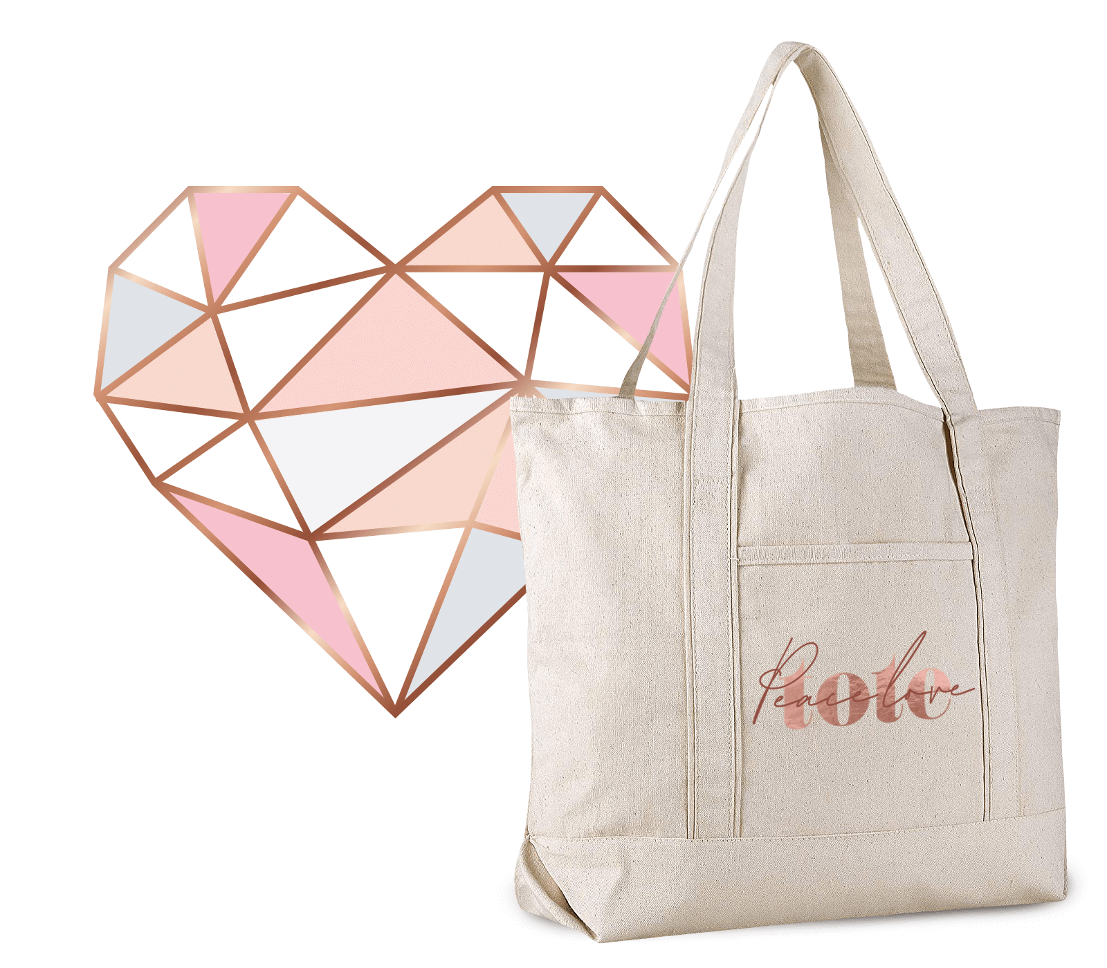peace love tote bag breast cancer gift bag