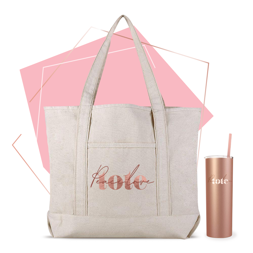 Peace Love tote bag and sipper