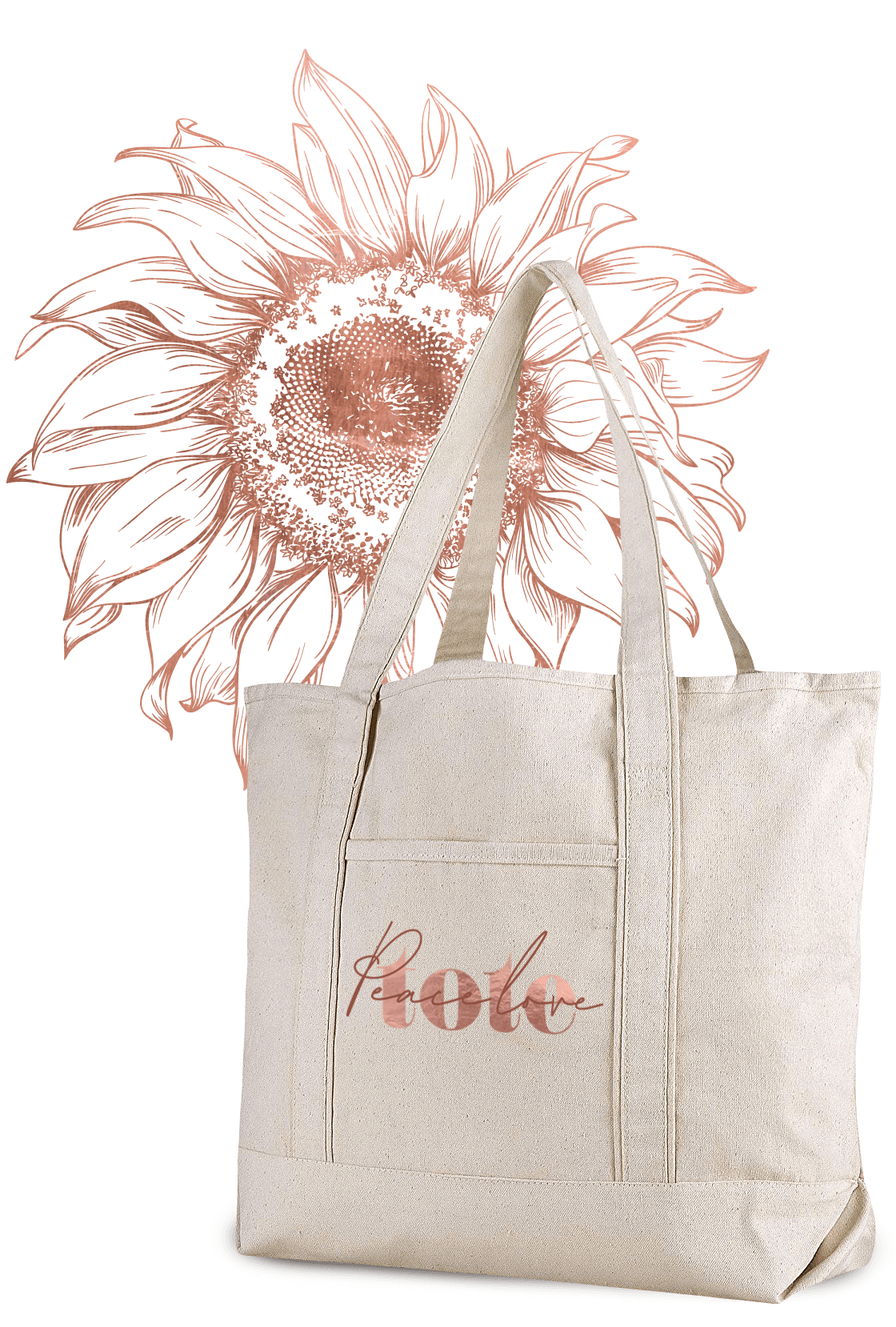 pink sunflower peace love tote